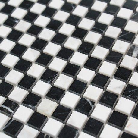 Mosaique Sol Et Mur Marbre Thassos Noir Et Blanc En 2020