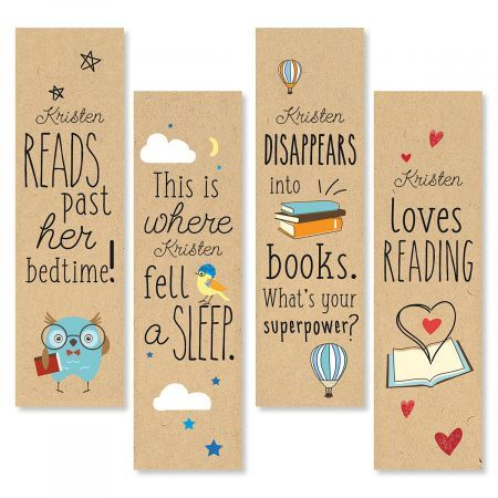Die-Cut Personalized Reading Bookmarks We'll print these kraft-style bookmarks with the name of your favorite young Super-Reader!