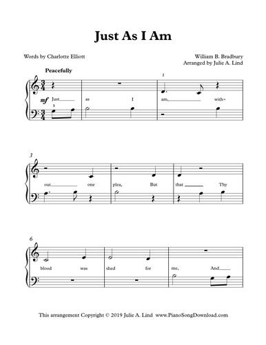 Just As I Am Free Easy Piano Hymn Arrangement From Piano Song