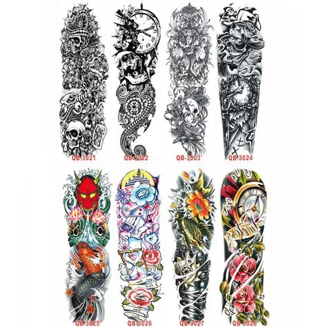 3 pieces temporary tattoo sleeve full arm (assorted styles)