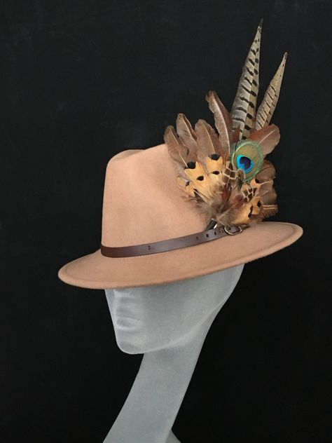 222147417c1df ARABELLA Ladies Beige Wool Felt Trilby with Pheasant Feather Trim - Perfect  for Cheltenham Races