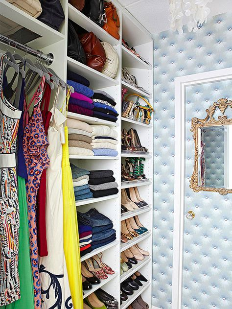 Use adjustable shelving units to customize shelf spacing to suit items of varying sizes! http://www.bhg.com/decorating/closets/walk-in/walk-in-closet-design-ideas/?socsrc=bhgpin022815stackupstyle&page=6
