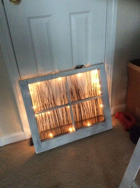 Repurposed Window Nightlight battery powered LED strand twigs old window poof excellent night light AND awesome wall art by day Antique Windows, Vintage Windows, Decorative Windows, Old Window Frames, Old Window Decor, Window Pane Art, Window Frame Ideas, Painted Window Panes, Glass Window Ideas