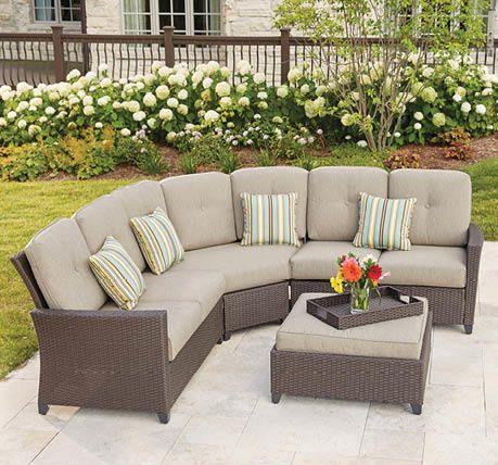 Hampton Bay Tacana 4 Piece Patio Sectional Set With Beige Cushions