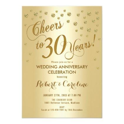 30th Wedding Anniversary Invitation In Gold Zazzle Com 50th Wedding Anniversary Invitations Anniversary Invitations Wedding Anniversary Invitations