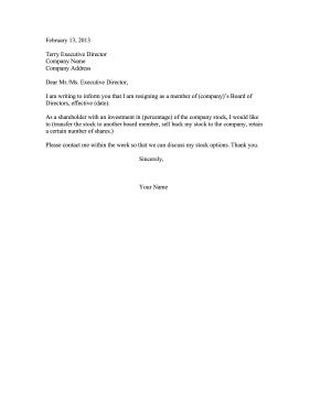 resignation letter from board