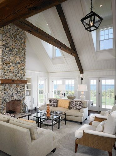 101 Beach Themed Living Room Ideas Beachfront Decor Vaulted Living Rooms Vaulted Ceiling Living Room Living Room With Fireplace