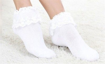 1 Pair Ladies Ankle Socks Princess Lace Trim Lolita Japan Vintage Cotton Cute