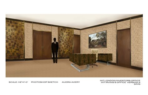 Interior Illustration of London Associates: Illustration of the interior of London Associates set for Columbia Pictures' AMERICAN HUSTLE.  Production Design by Judy Becker Photo by:  Illustration by Audra Avery