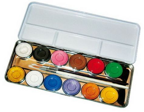 Theaterschminke Schminke Make-up Metall-Palette 12 Farben von Eulenspiegel