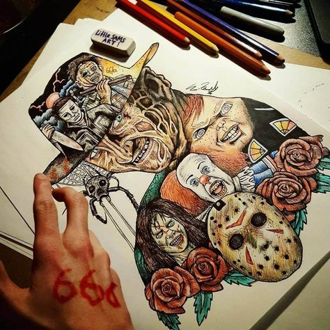 Horror Movies Nightmares Movie Character Drawings within Characters. By Sam Brunell. Disney Drawings, Cartoon Drawings, Easy Drawings, Horror Drawing, Horror Art, Horror Movie Characters, Horror Movies, Horror Movie Tattoos, Beautiful Pencil Drawings