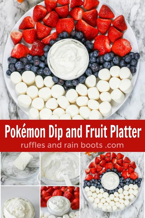 Easy and Impressive Pokémon Fruit Tray and Dip - Pokemon Pokemon Snacks, Easy Pokemon, Pokemon Cupcakes, Pokemon Craft, Pokemon Pokemon, Pokemon Fusion, Pokemon Themed Party, Pokemon Birthday Cake, Birthday Party Games