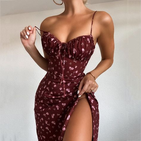👗 Wine Red Floral Summer Midi Dress 🌺 • Lovely and... - Depop