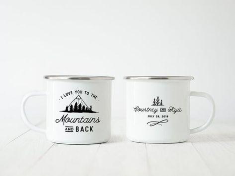 I Love You to the Mountains Wedding Favor Camp Mugs Mountain Wedding Camping Mug Personalized Camp M