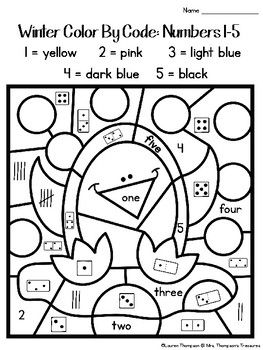 Winter Coloring Pages Color By Code Kindergarten  Winter