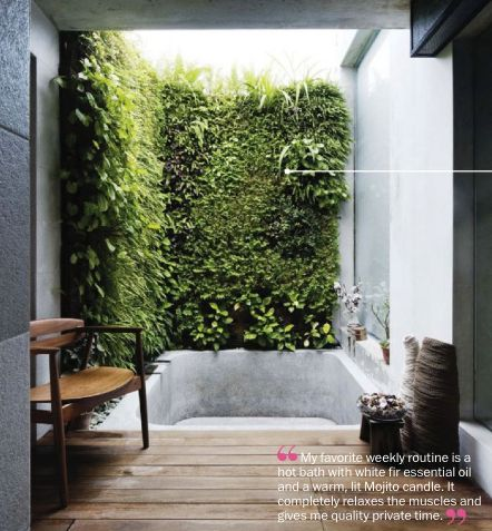a vertical garden in the bathroom. I don't agree with bathtubs in eco homes but this can be a shower room.. LOVE it