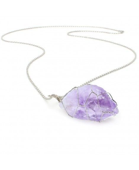 Amethyst Heart Necklace Natural Amethyst Pendant Healing Crystal Necklaces for women Purple Crystal Jewelry Amethyst Stone Chakra Necklace