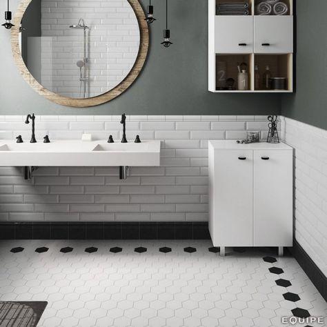 hexagon white matt 11.6cm x 10cm porcelain wall & floor