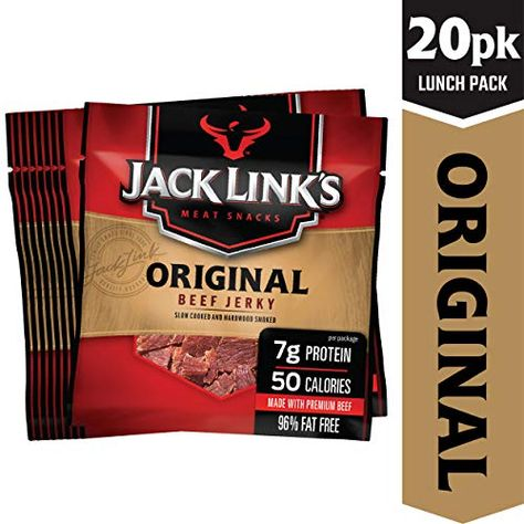Jack Link S Beef Jerky 20 Count Multipack Original 20 625 Oz Bags Flavorful Meat Snack For Lunches Ready T With Images Meat Snacks Protein Packed Snacks Beef Jerky