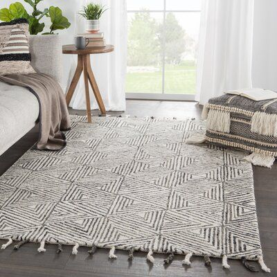 George Oliver Amick Geometric Handmade Tufted Wool Ivory Gray Area Rug Patterned Furniture Hand Tufted Rugs Area Rugs