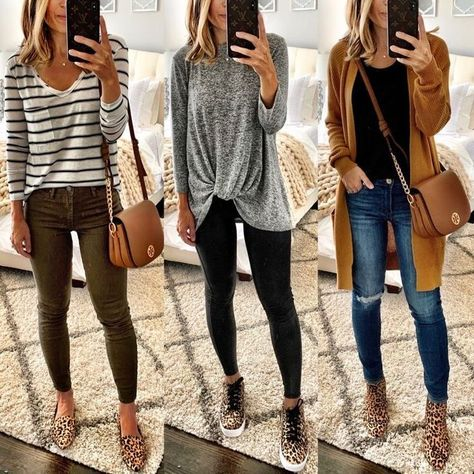 fall outfits modest Outfits Women's Nine West Leopard Print Sweater Fall Outfits For Work, Fall Fashion Outfits, Casual Fall Outfits, Fall Fashion Trends, Mode Outfits, Fall Winter Outfits, Trendy Outfits, Winter Fashion, Womens Fashion