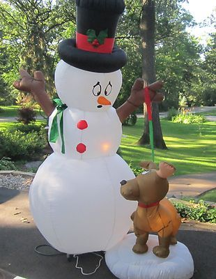 Holiday Living 394-ft Lighted Snowman Christmas Inflatable - christmas blow up decorations