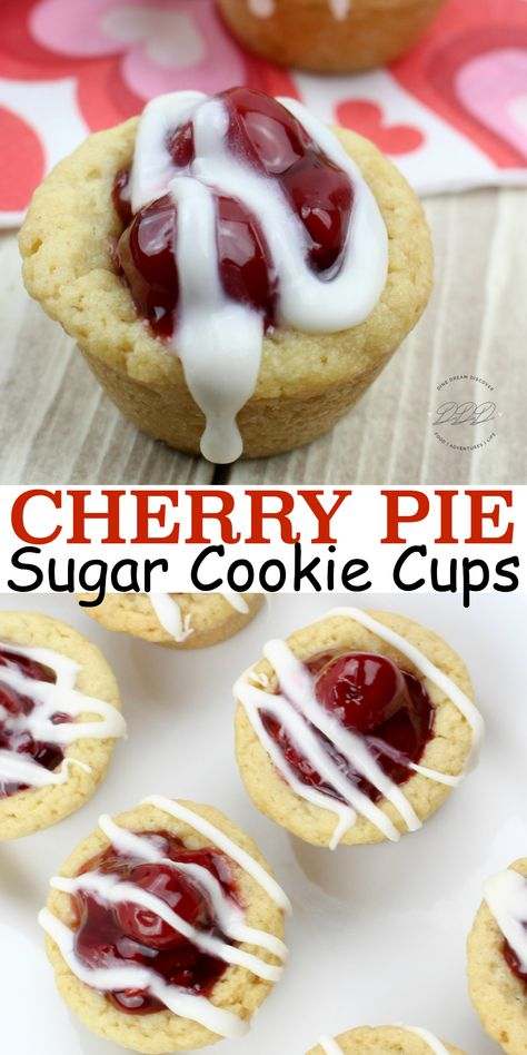 The Cherry Pie Cookie Cups recipe is my favorite cherry recipe. Cherry Pie Cook… The Cherry Pie Cookie Cups recipe is my favorite cherry recipe. Cherry Pie Cookies are like mini cherry pies. Cherry sugar cookie cups are filled with cherry pie filling. Sugar Cookie Cups, Sugar Cookie Dough, Cookie Pie, Valentine Desserts, Mini Desserts, Cherry Pie Filling Desserts, Cherry Desserts, Halloween Desserts, Plated Desserts