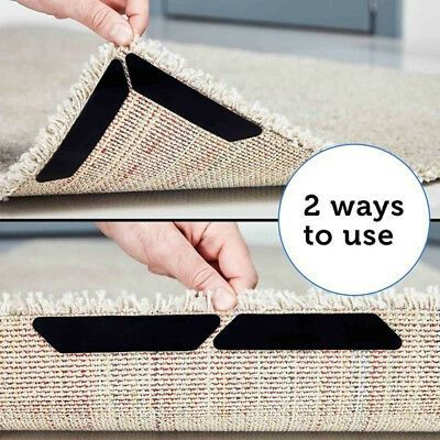 8pcs Reusable Rug Carpet Mat Curling Grippers Anti Slip Silicone Grip Skid Tape Ebay Rugs On Carpet Carpet Fabric Carpet Mat