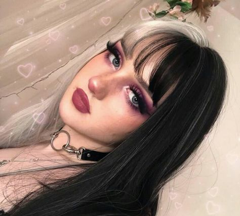 Items in each package: 1 sheet Cover size: average size Texture: Straight Wig length: long Material: Swiss lace Density: Can be scalded: No Edgy Makeup, Cute Makeup, Hair Makeup, Grunge Makeup, Pretty Makeup, Frontal Hairstyles, Cool Hairstyles, Grunge Hairstyles, Split Dyed Hair