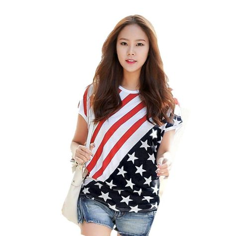 Hot!! Best Deal 2016New Fashion Sexy High Quality Star Stripe Printing Short Sleeve T-Shirt Camisetas para las mujeres For Women