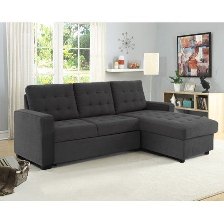 Lifestyle Solutions Serta Bostal Sectional Sofa Convertible Converts Into A Sofa Bed And Chaise With Storage Steel Grey Walmart Com Convertible Sofa Convertible Sofa Bed Sectional Sofa