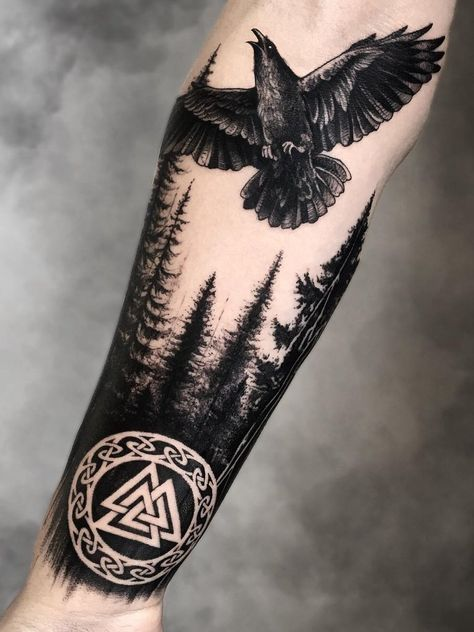 Viking Raven Tattoo Ravens are one of the most commonly appeare. - Viking Raven Tattoo Ravens are one of the most commonly appeared figures in Norse - Viking Tattoo Sleeve, Norse Tattoo, Celtic Tattoos, Viking Tattoos, Celtic Raven Tattoo, Forest Tattoo Sleeve, Caduceus Tattoo, Armor Tattoo, Warrior Tattoos