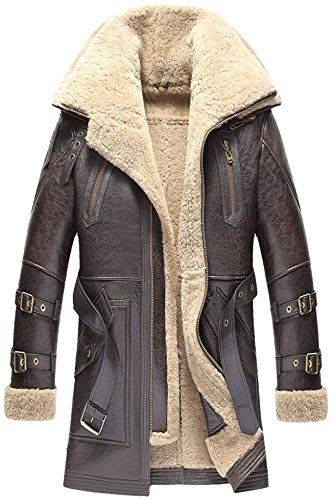 2018 Brown Men Long Casual Shearling Coat Double Breasted