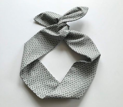 Wired Head Scarf Gray Necktie Dots Dolly Bow Headband/Inner Wired Headwrap/Stay All Day Hands Off Fa #headscarfstyles Wired Head Scarf Gray Necktie Dots Dolly Bow Headband/Inner Wired Headwrap/Stay All Day Hands Off Fa