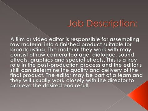 film editor job description Editors Job #sampleResume #FreeResume - photo editor job description
