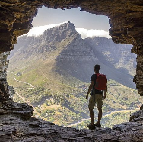 Table Mountain as viewed from a cave on Lions Head - south africa
