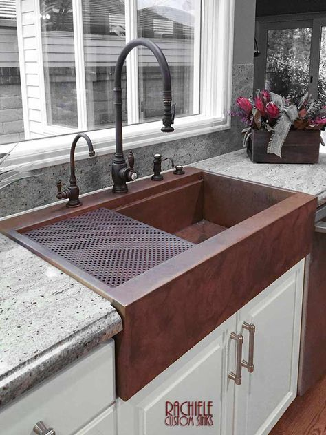 Drop In Retrofit Copper Farmhouse Sink Top Mount