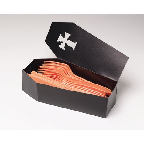 Your guests will drop dead when they see what the cutlery is stored in! Our Silverware Caddy Coffin is perfect for Halloween party! Features a cardstock coffin table decoration. Measures x Includes 3 coffins per package. Halloween Party Supplies, Halloween Food For Party, Halloween Birthday, Easy Halloween, 30th Birthday, Birthday Ideas, Halloween Tricks, Halloween Stuff, Halloween Crafts