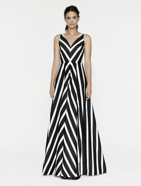 Striped Jacquard Gown