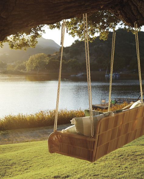 Outdoor Hanging Daybed: Every detail is about relaxed luxury – from the weatherproof mattress that makes cleaning a breeze, to the large bolster pillows. Outdoor Spaces, Outdoor Living, Outdoor Decor, Outdoor Swings, Outdoor Movie Nights, Applis Photo, Décor Boho, Jolie Photo, Porch Swing