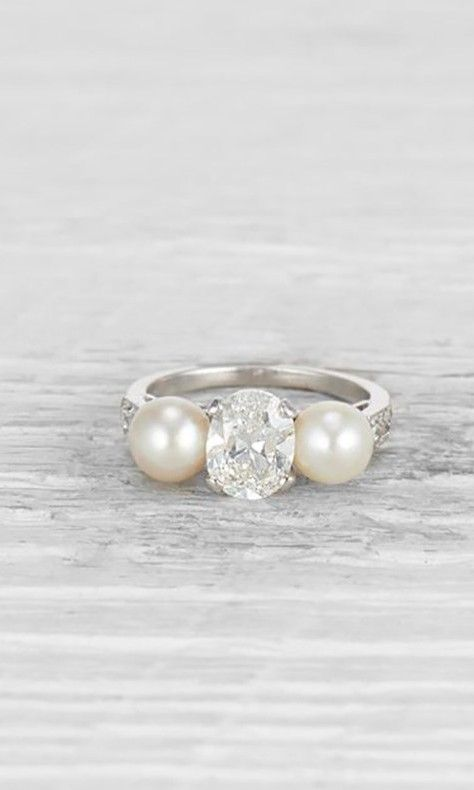 50e3d271fcf5e 52 Polished Pearl Engagement Rings in 2019   Engagement and Wedding ...