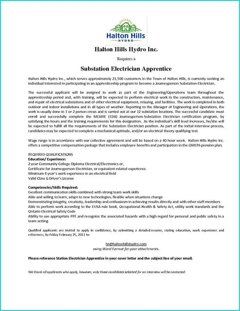 Substation Apprentice Sample Resume Free Business Plan Template For Word And Excel With Regard To .