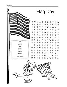 Flag Day Word Search Puzzle 1st Grade School Age Activities Flag United States Flag Craft
