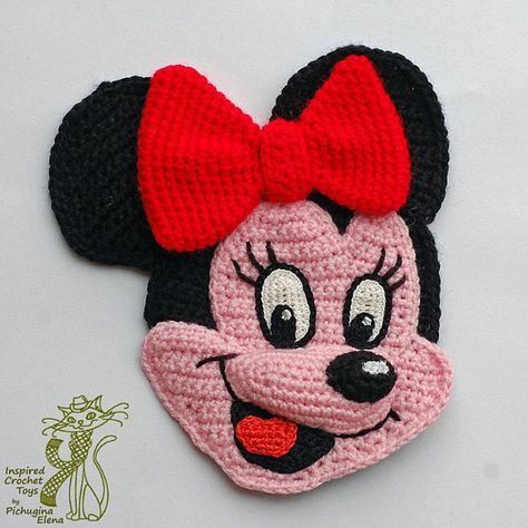 Minnie Mouse Red Polkadots Bow Iron on Patches//Sew On//Applique//Embroidered W3.5 x H3