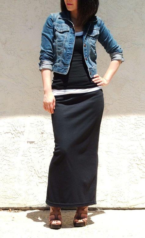 Black Maxi Skirt /Plus Size Long Skirt / Straight Maxi Skirt / Slim Jersey Skirt / Office Skirt / Everyday Long Skirt / Gift for Women - How To Be Trendy