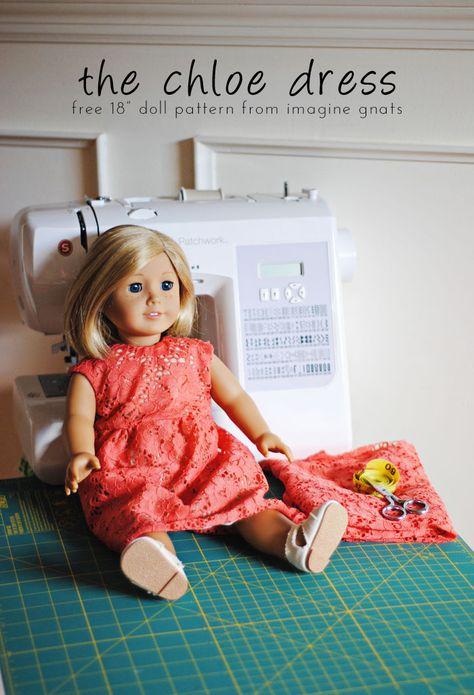 sewing: the chloe dress {free 18″ doll dress pattern} || imagine gnats