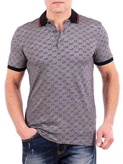 7e2041514 Gucci Polo Shirt, Mens Gray Short Sleeve Polo T- Shirt GG Print All Sizes  (S)