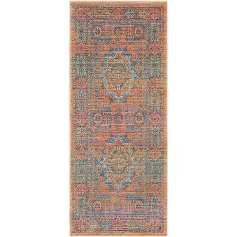 Surya Dynine Center Medallion Border 2 11 X 7 10 Runner In Saffron Oriental Area Rugs Purple Area Rugs Area Rugs