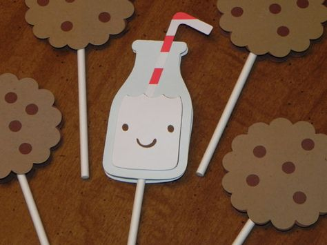 Milk and Cookies Cupcake Toppers - Set of 12 - Milk and Cookies Birthday Party on Etsy, $12.00