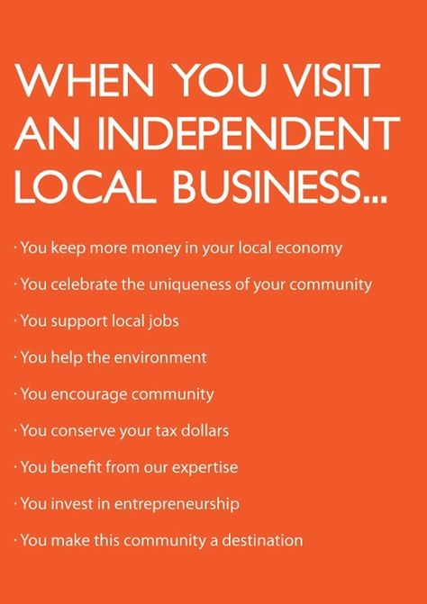 Find a local business to support: http://www.independentwestand.org/support-independent-business/search/